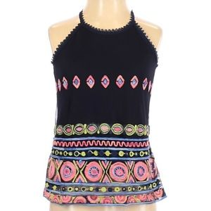 Beautees Sheer Embroidered Cotton Tank